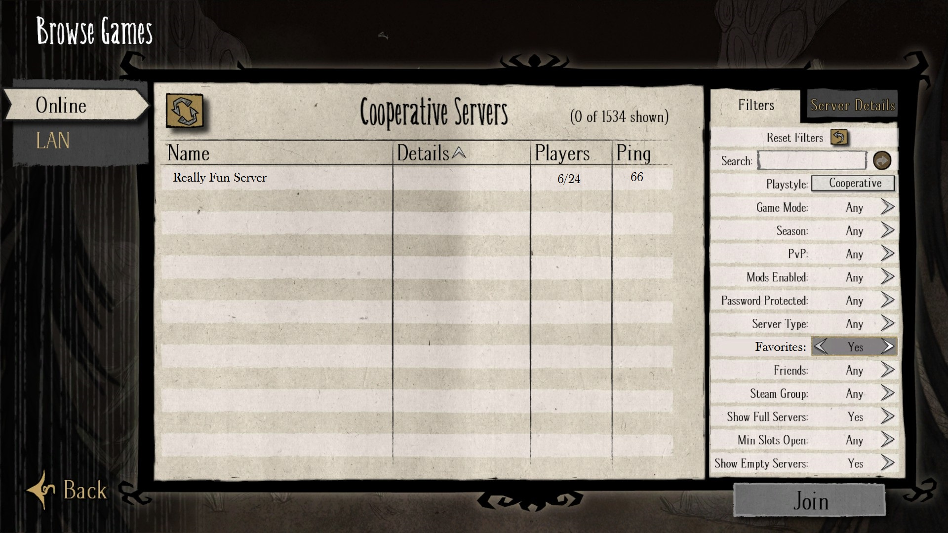 Server Favorite and Server Blacklist options - [Don't Starve