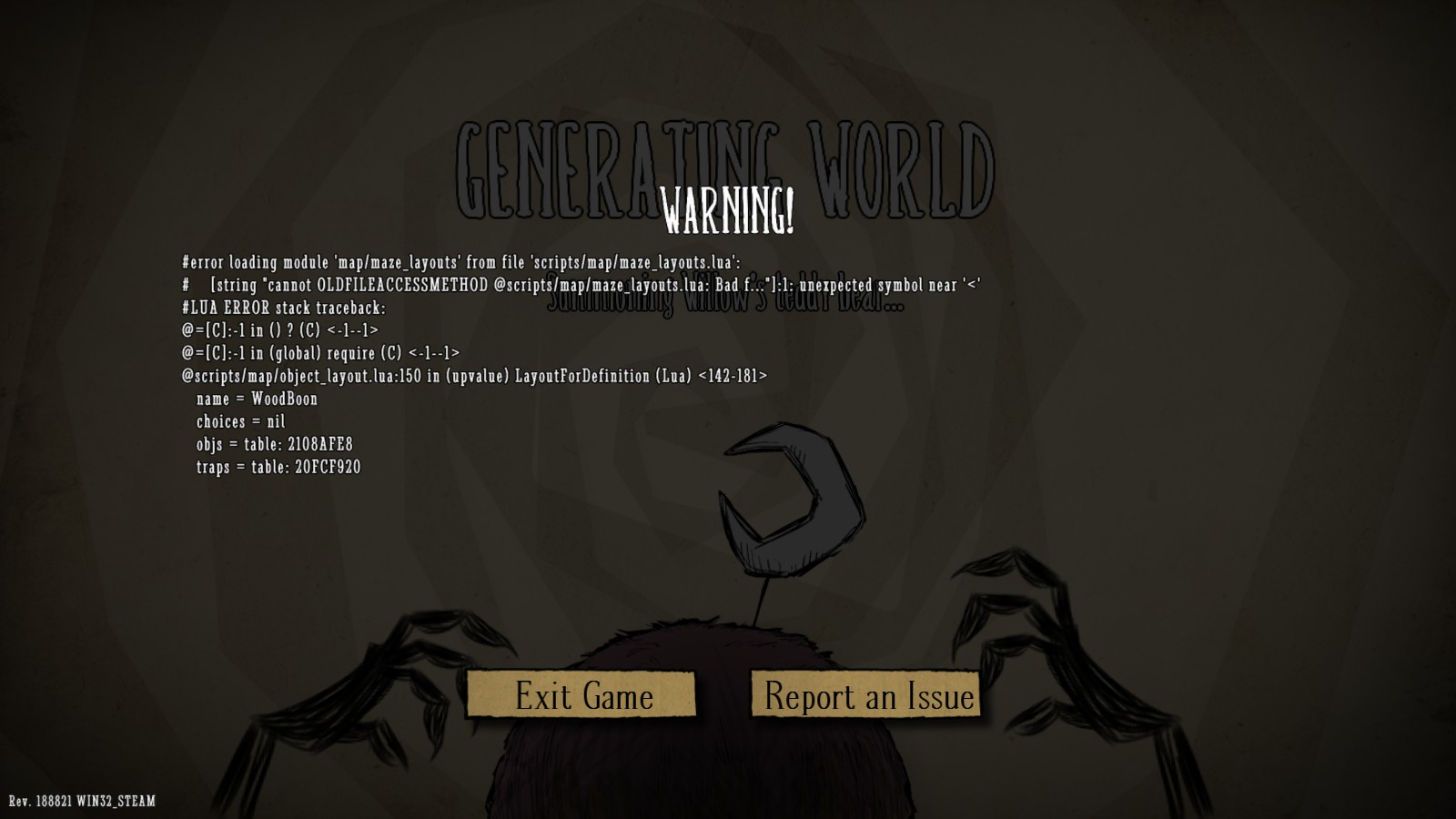 Lua Error When Trying To Host A Game Dont Starve Together Klei