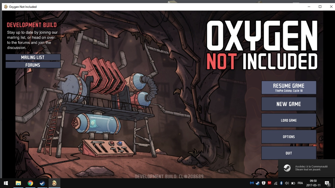 Game is stuck on the main menu - Oxygen Not Included - Klei