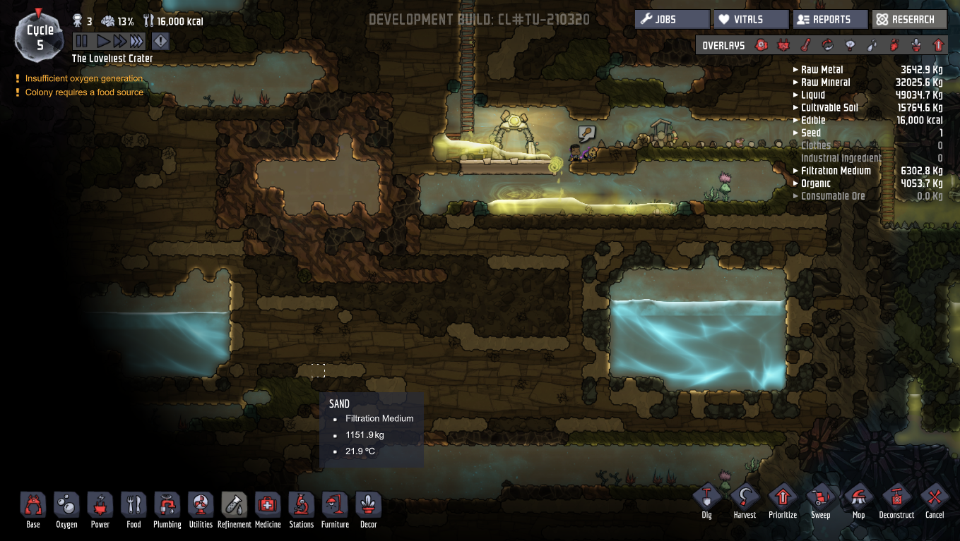 oxygen not included how to use a water seive