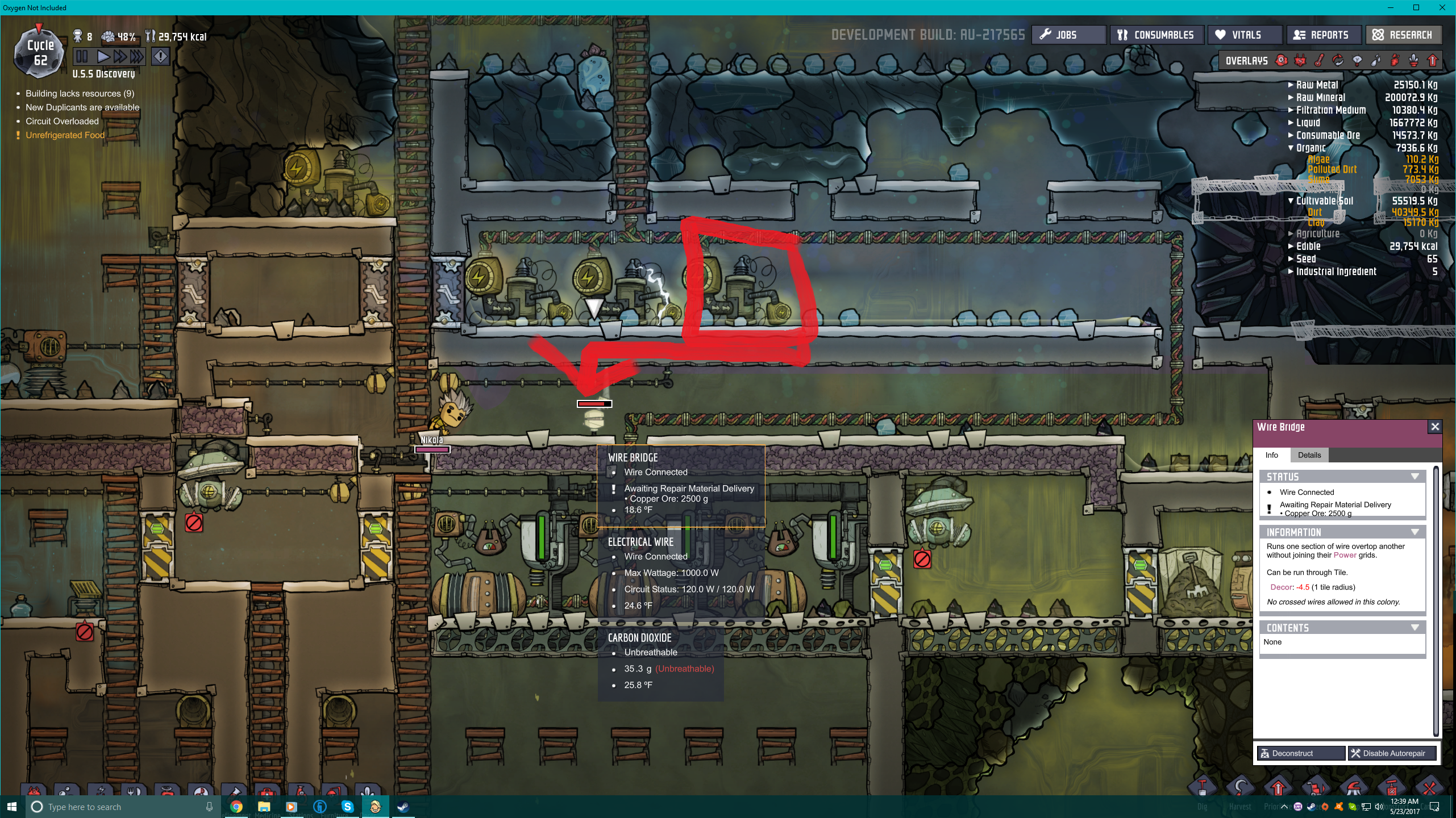 wire bridge only overload damage oxygen not included early