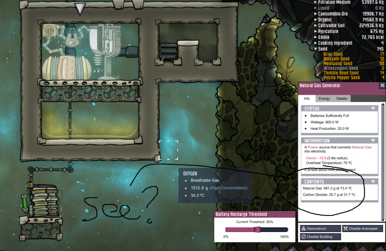 Oxygen Not Included Natural Gas Generator Idle