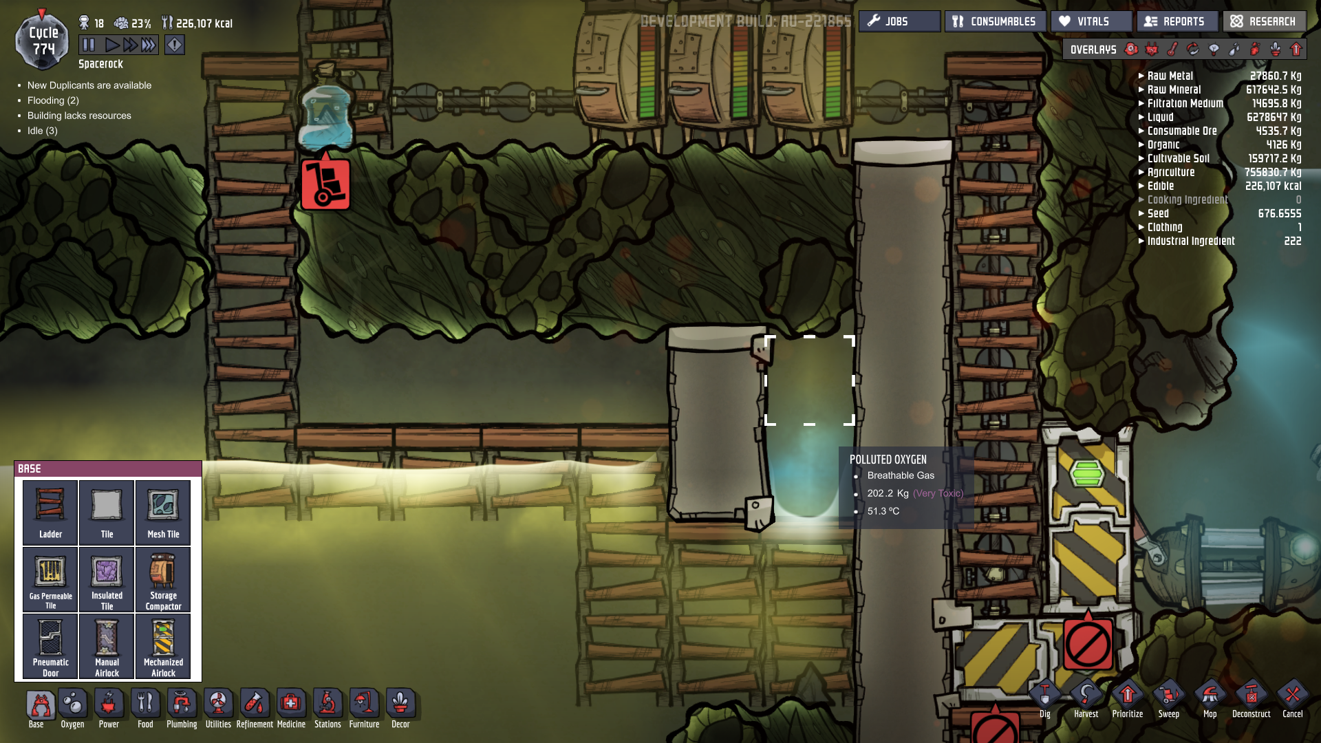 oxygen not included how to get rid of sweep