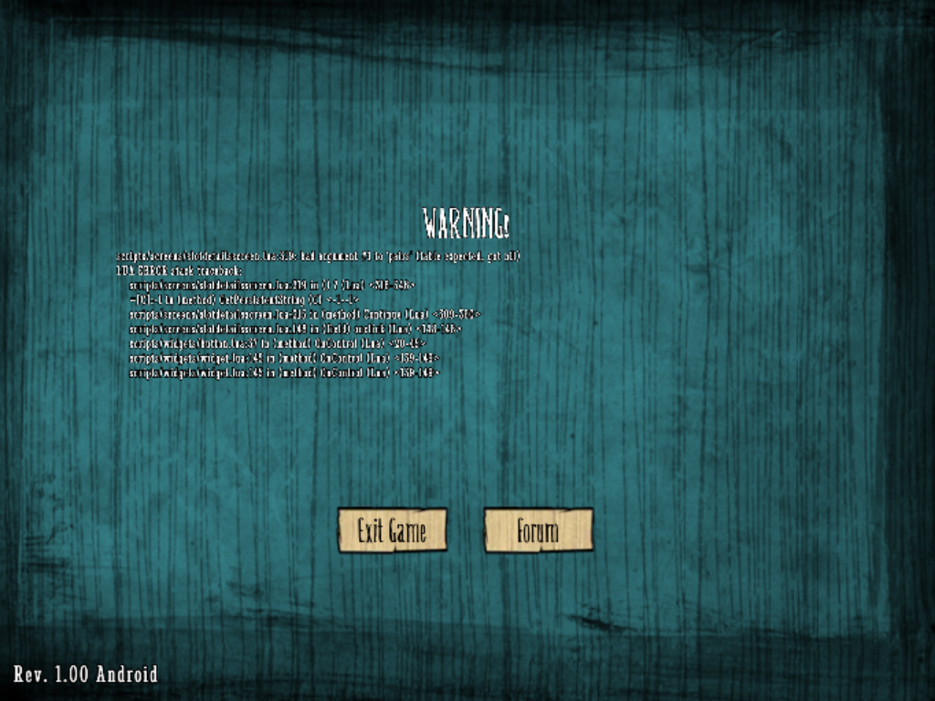 Don't Starve Shipwrecked Android Loading World Bug Error
