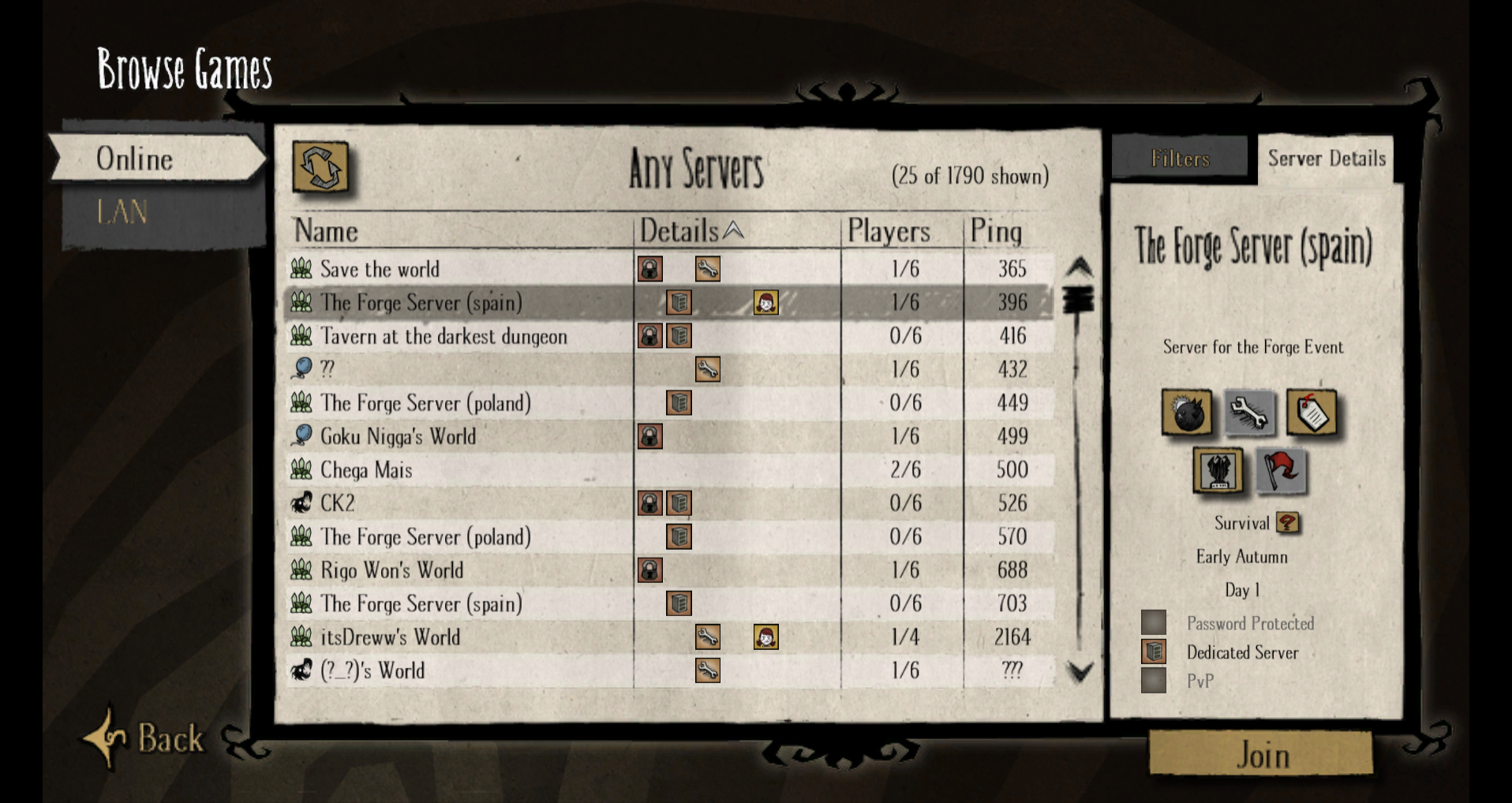 Browsing normal servers lists Forge servers as well - Don't Starve