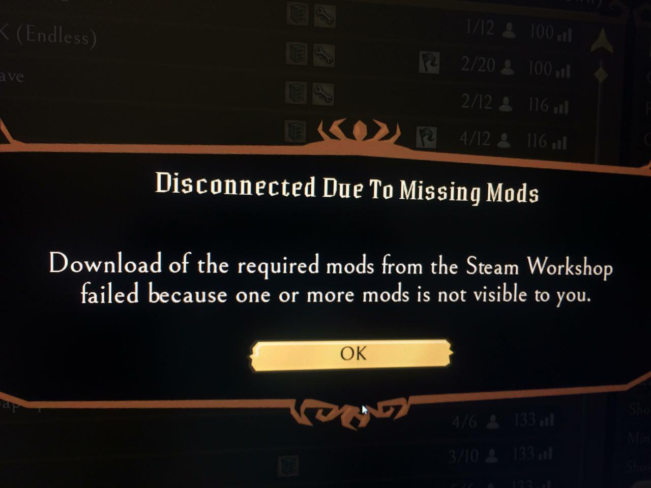 Disconnected due to missing mods - [Don't Starve Together