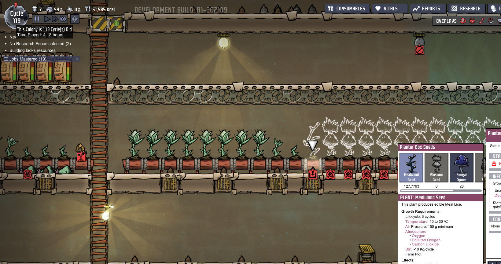 Mealwood Displaying too many seeds - Oxygen Not Included - [Early