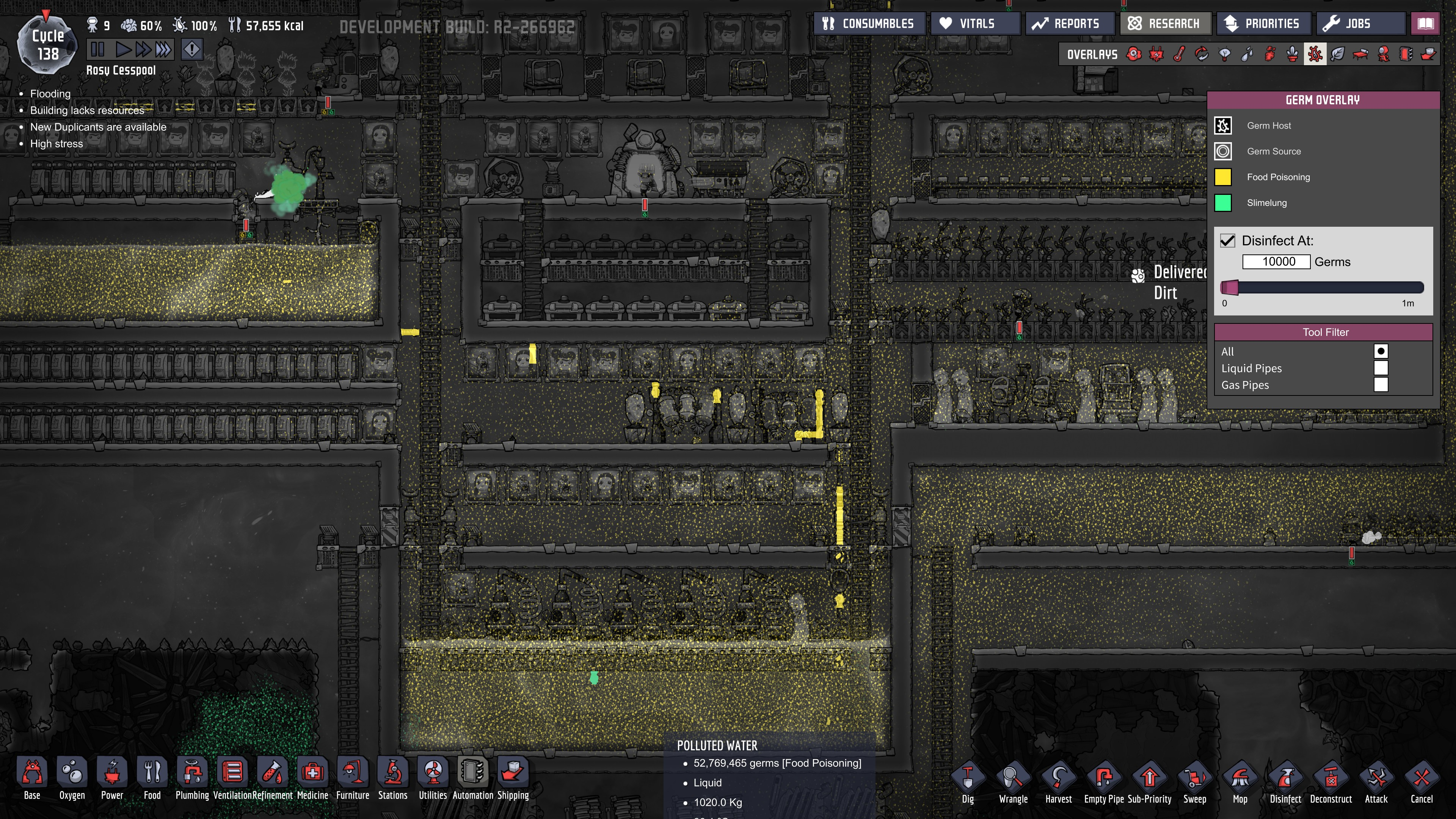 how to create polluted water in oxygen not included