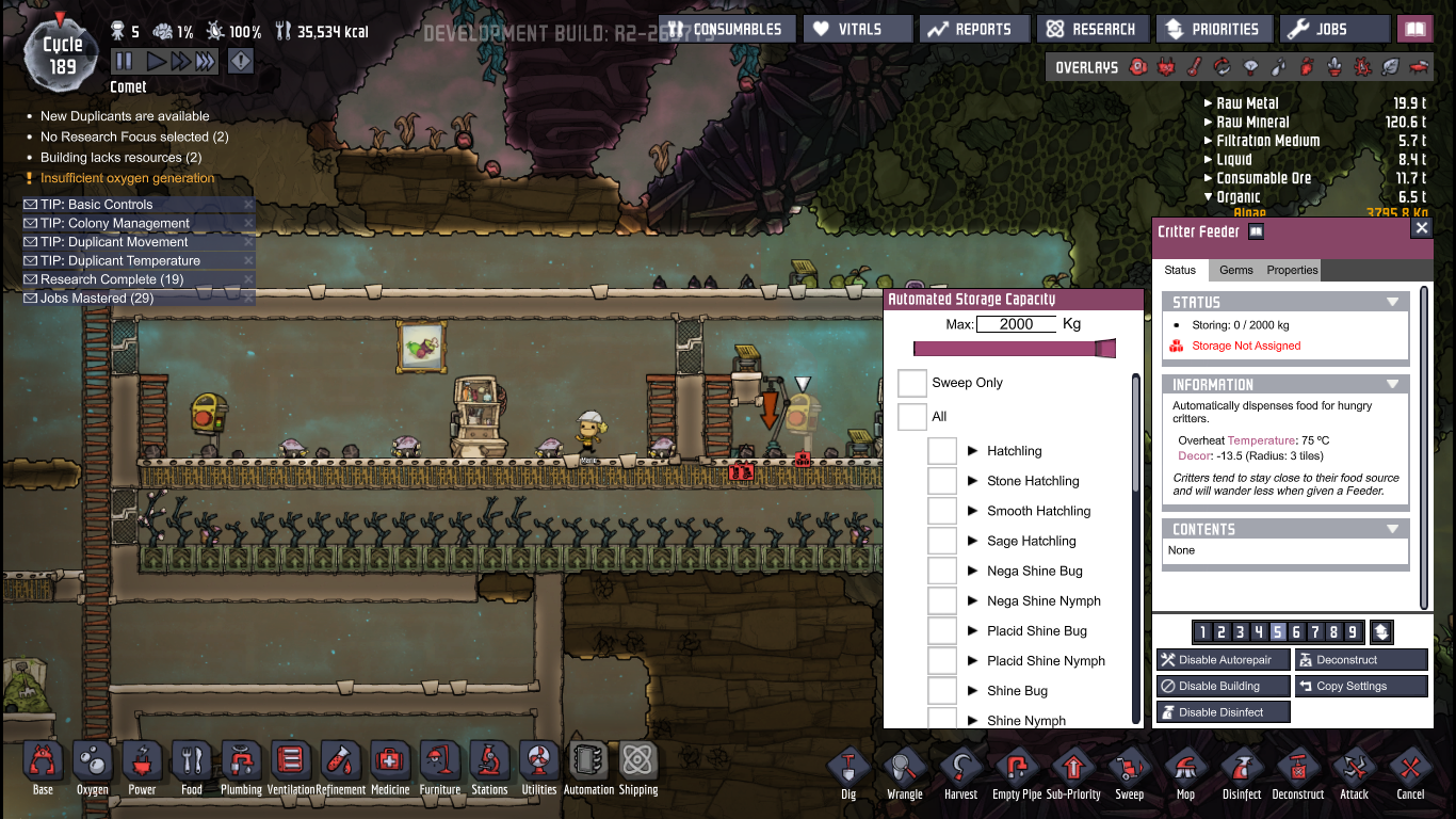 critter feeder not working rightly and bugged oxygen not included