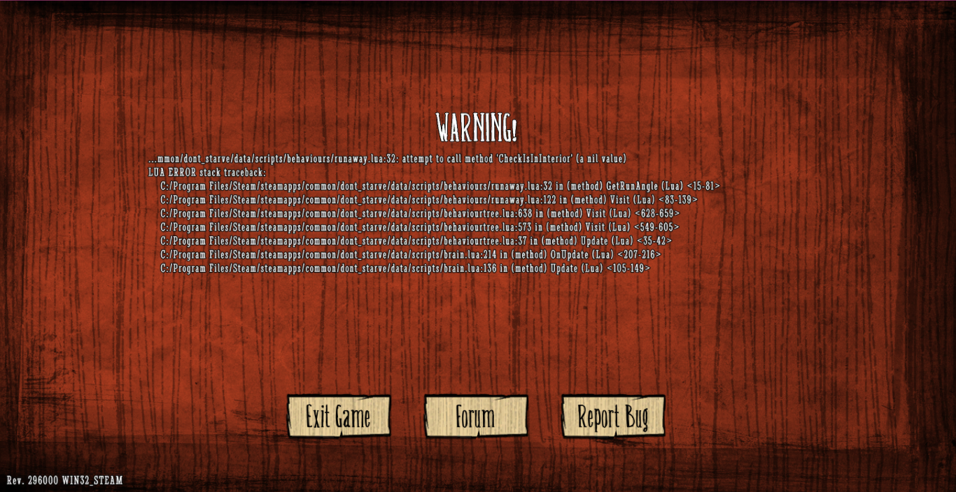 Help with Bug - [Don't Starve] Bug Tracker - Klei Entertainment Forums