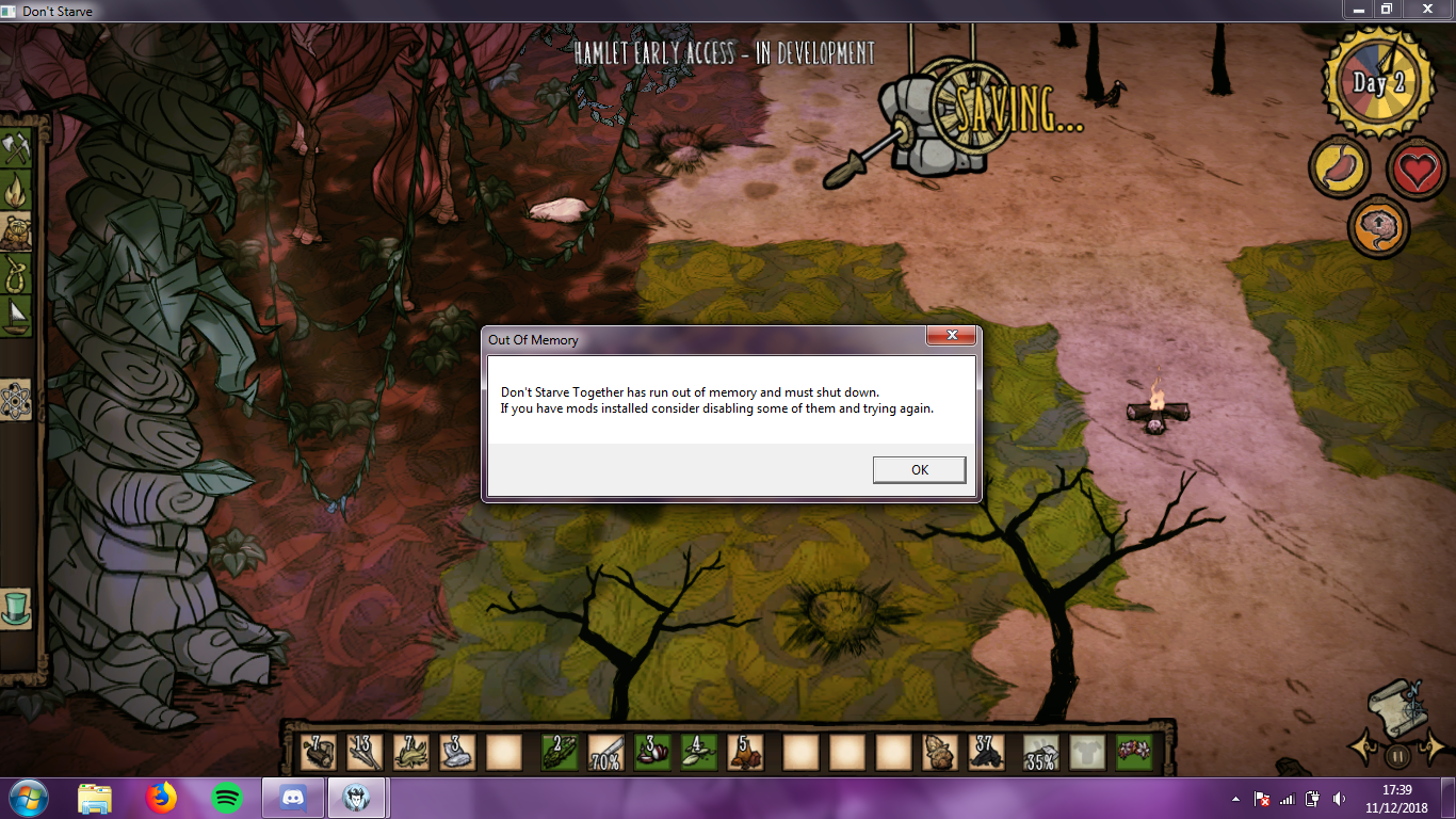 Game Crashes during Autosave - Don't Starve: Hamlet Early Access