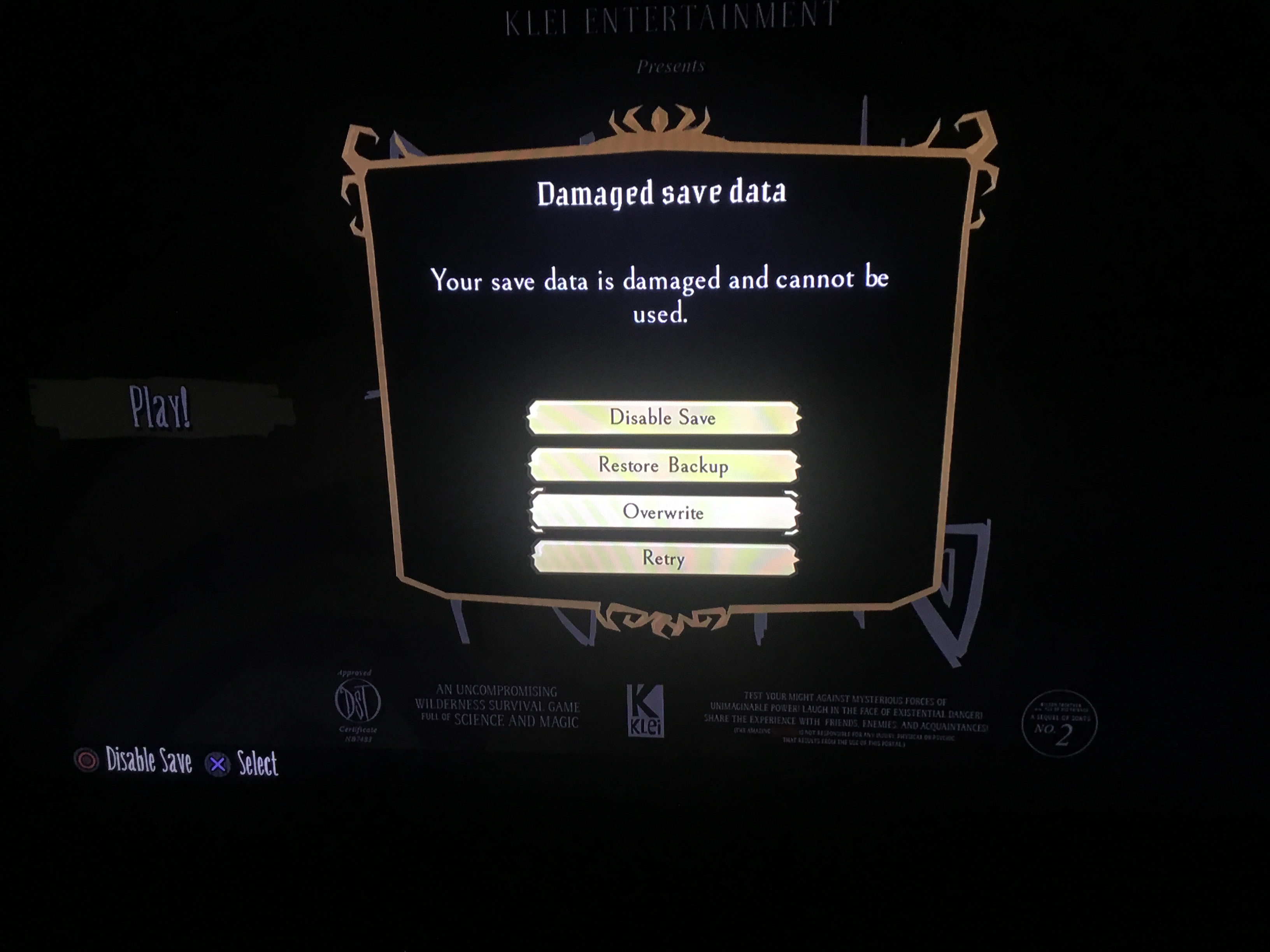 Game crash (blue screen) caused corrupted data - [Don't Starve