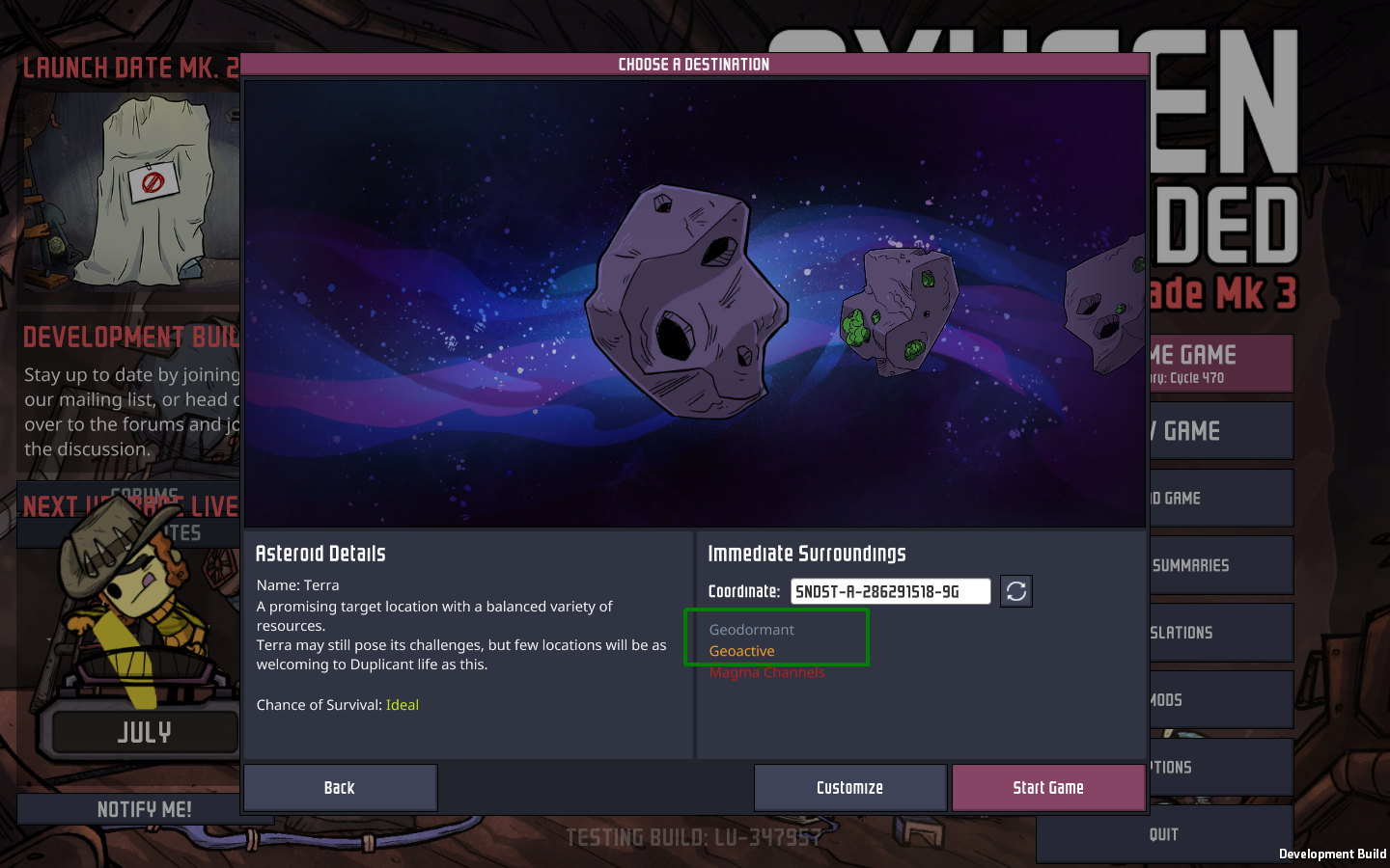 Incoherence on the asteroid trait screen - Oxygen Not