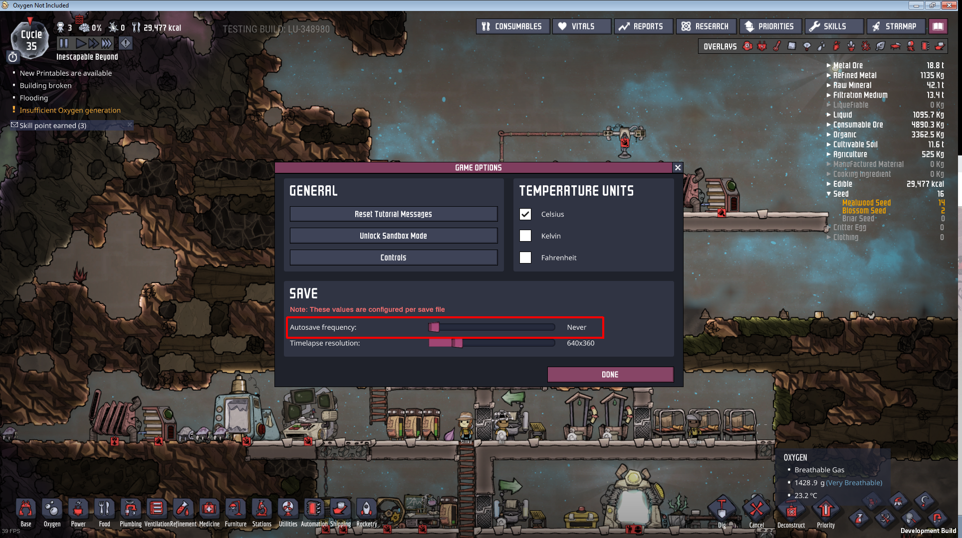 autosave frequency not functioning correctly - Oxygen Not Included